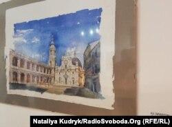 Акварель Алли Зарваницької з базилікою Різдва Пресвятої Богородиці у місті Лорето