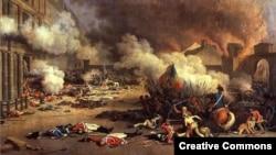 Штурм королевского дворца Тюильри 10 августа 1792 года – одно из ключевых событий Французской революции. Картина Жака Берто