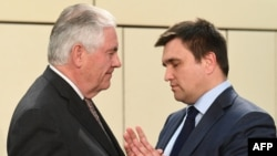 "U.S. Secretary of State Rex Tillerson (left) told Ukrainian Foreign Minister Pavlo Klimkin that U.S. and NATO support for Ukraine remains ""steadfast."""