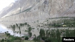 A view of Badswat village submerged by floodwaters after a glacial lake outburst in Gilgit-Baltistan Province in Pakistan in July 2018.