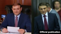 Мэр Еревана Тарон Маркарян (слева) и начальник Полиции Армении Валерий Осипян