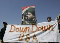 Al-Sadr supporters demonstrating in June 2006 against U.S. raids in Shi'ite neighborhoods (epa)