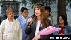Мая Илиева на един от протестите на медицинските сестри