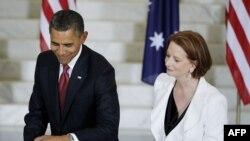 Президент США Барак Обама та прем'єр-міністр Австралії Джулія Ґіллард, Канберра, Австралія, 16 листопада 2011 року