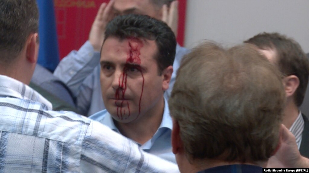 Protesters, among them masked people, attacked deputies after they stormed parliament in Skopje,including Social Democrat leader Zoran Zaev on April 27.
