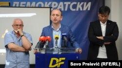 Konferencija Demokratskog fronta za medije povodom potvrde optužnice: Emilo Labudović, Milan Knežević i Nebojša Medojević