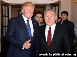 U.S. President Donald Trump (left) and his Kazakh counterpart Nursultan Nazarbayev in Washington.