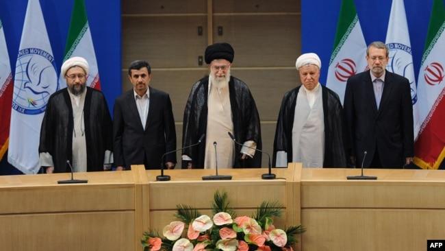 The opening session of the 120-member Non-Aligned Movement summit in Tehran, Aug2012. Larijani (R) next to veteran politician Hashemi Rafsanjani.