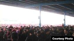 Striking workers in Zhanaozen