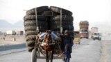 د بلوچستان په چمن ښارګوټي کې یو کس په ټایرونو بار ټانګه رهي کړې. ۲۰۱۴، ۲۲ نومبر