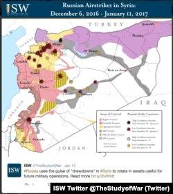 مناطق تحت کنترل دولت و گروههای مختلف سوری و حملات هوایی ارتش سوریه؛ نقشهای از انیستیتو مطالعات جنگ