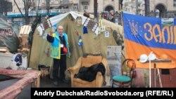 Pamje nga një kamp i protestuesve në Kiev të Ukrainës
