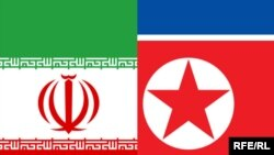 پرچمهای کره شمالی و ایران