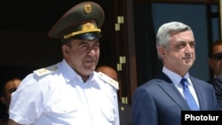 Armenia - President Serzh Sarkisian and the commander of interior troops Levon Yeranosian (L) pictured together in Yerevan, 21Jun2014.