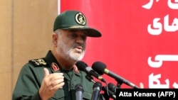 Iranian Revolutionary Guards commander Major General Hossein Salami speaks during an inaugural ceremony unveiling the new murals painted on the walls of the former U.S. embassy in Tehran, November 2, 2019