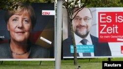 Predizborni plakati Angele Merkel i Martina Šulca
