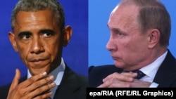 На снимке: президент США Барак Обама и президент России Владимир Путин