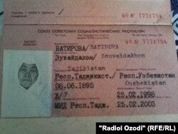Акси шиносномаи Зувайдахон Ботирова