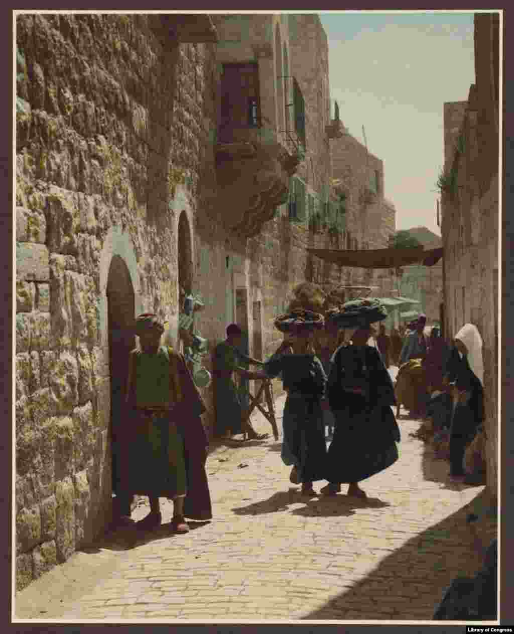 Bethlehem street scene (street leading to the Church of the Nativity). Bethlehem has been under the control of the Palestinian Authority since 1995.