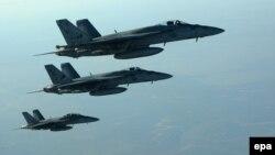 Ամերիկյան F-18E ռազմական օդանավերը, որոնք մասնակցում են Սիրիայում «Իսլամական պետության» օբյեկտների ռմբակոծությանը, 23-ը սեպտեմբերի, 2014թ․