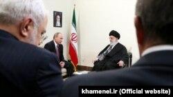 دیدار ولادیمیر پوتین و علی خامنهای در تهران، ۲۰۱۵، با حضور محمدجواد ظریف و علیاکبر ولایتی