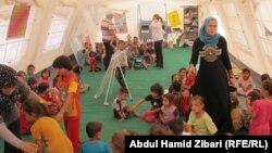احدى خيام تعليم الاطفال في اربيل عن طريق اللعب