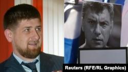 Глава Чечни Рамзан Кадыров (слева) и фотография оппозиционного политика Бориса Немцова.