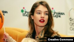 Russian supermodel and philanthropist Natalia Vodianova at a 2008 press conference in Novosibirsk.