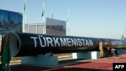 The symbolic first section of a Turkmen gas pipeline to China (file photo)