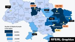 Harta refugiaților interni din Ucraina, 2 octombrie 2014.