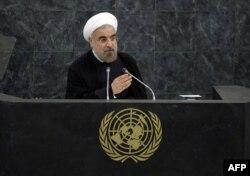 Хасан Роугані виступає на сесії Генасамблеї ООН, 24 вересня 2013 року