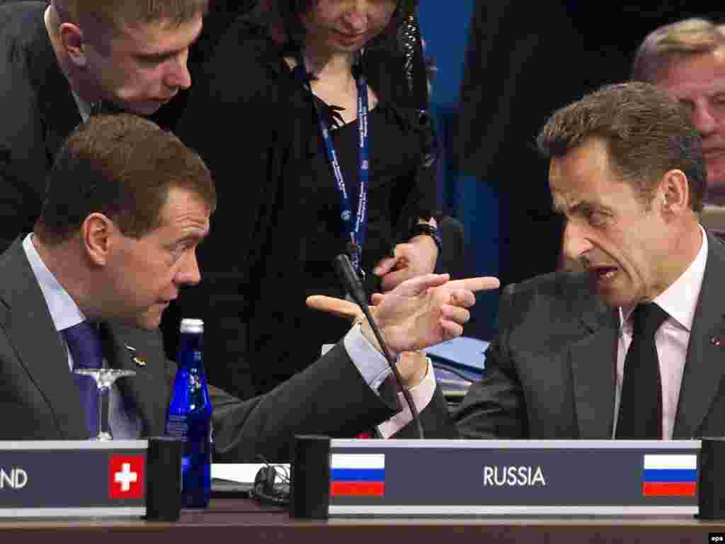Russian President Dmitry Medvedev argues with French President Nicolas Sarkozy during the Nuclear Security Summit in Washington, D.C. Photo by Ian Langsdon for epa