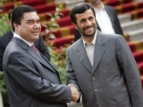 Presidents Berdymukhammedov (left) and Ahmadinejad -- not so friendly anymore?