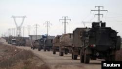 Турецкая военная техника движется в направлении города Аль-Баб, Сирия, 9 января 2017 года