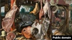 Пітэр Артсэн, «Ятка разьніка зь Сьвятой Сям'ёй, якая падае міласьціну» (1551)