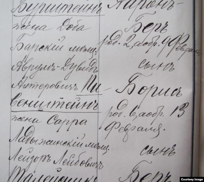 Ванда Цуркан обнаружила в одесских архивах запись о рождении Бориса Пивенштейна