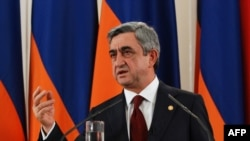 Armenia - Armenian President Serzh Sarkisian makes a speech on the one year anniversary of his inaugeration as president, Yerevan, 10Apr2009