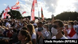 Tens of thousands are estimated to have turned out for the opposition really in the Belarusian capital on July 30.