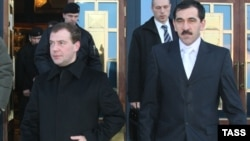 Ingushetia's Yunus-Bek Yevkurov (right) with Russian President Dmitry Medvedev in Magas