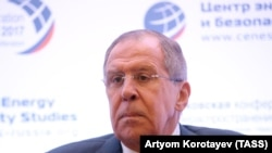 Russian Foreign Minister Sergei Lavrov speaks at the 2017 Moscow Nonproliferation Conference at the Center for Energy and Security Studies, in Moscow, October 20, 2017