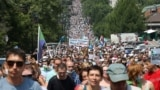 People take part in a rally in support of arrested regional governor Sergei Furgal who is accused of organising the murder of several entrepreneurs 15 years ago, in Khabarovsk, Russia July 18, 2020