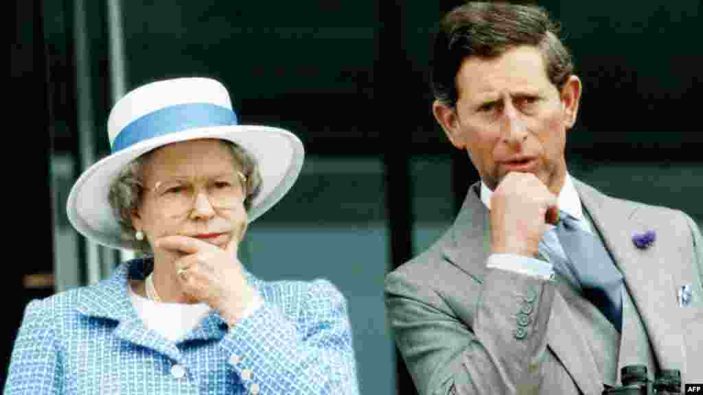 "The queen and Charles watch horseraces at Epsom following what she famously described as an ""annus horribilis,"" 1992, which saw her two oldest sons separate from their wives, daughter Anne divorce, and a fire destroy part of Windsor Castle."