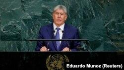 Президент Кыргызстана Алмазбек Атамбаев выступает с обращением к Генеральной Ассамблее ООН. Нью-Йорк, 20 сентября 2017 года.