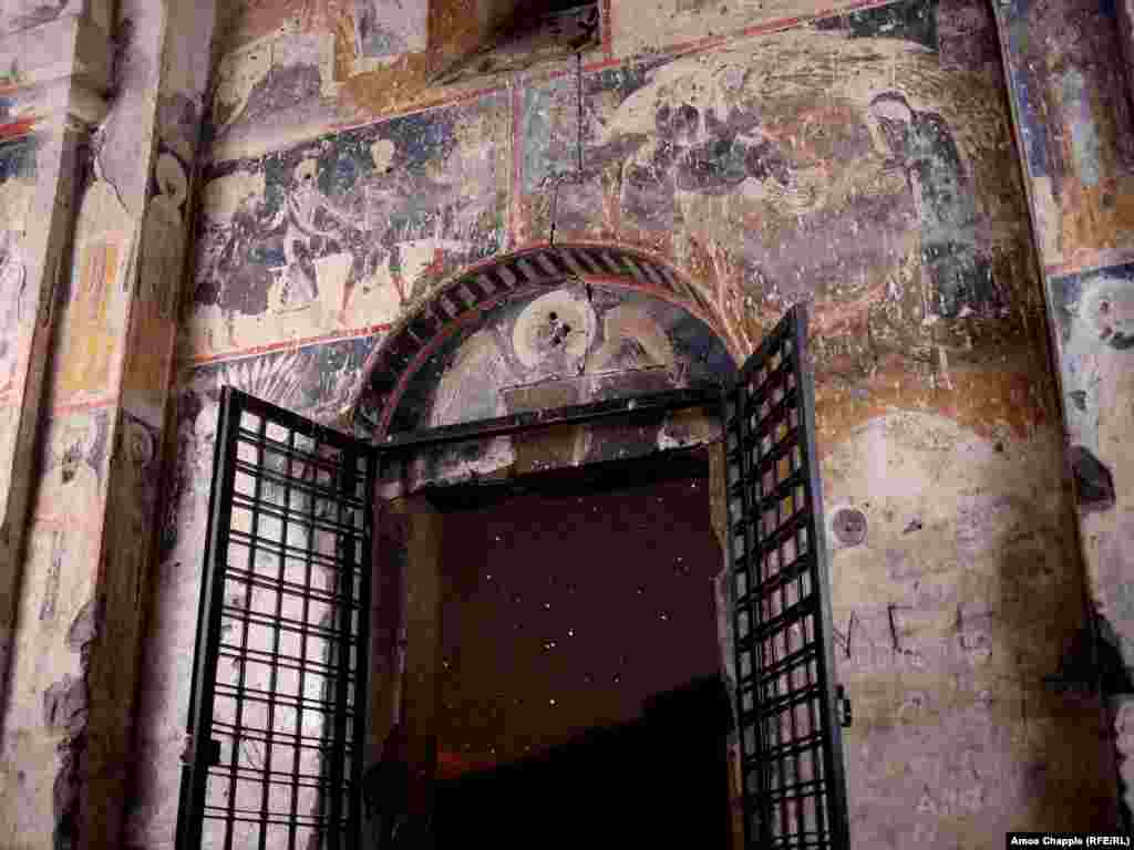 Inside the Church of St Gregory of Tigran Honents. Many of the frescoes inside have been literally defaced. The damage done to Ani may be at an end now that UNESCO has some jurisdiction over the ruins; but outside the UNESCO site, the Armenian heritage in Turkey is at the mercy of a state that seems eager to forget Armenians existed in the region at all.