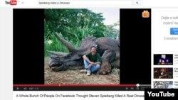 بسیاری از افراد در فیسبوک فکر کردند که اسپیلبرگ بهراستی یک دایناسور واقعی را کشتهاست