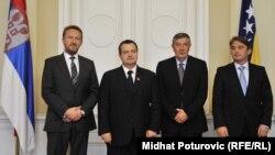 Ivica Dačić sa članovima Predsjedništva BiH Bakirom Izetbegovićem, Nebojšom Radmanovićem i Željkom Komšićem