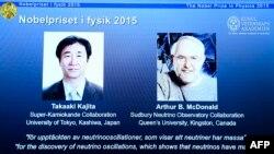 Fizika üzrə Nobel mükafatçıları - Takaaki Kajita və Arthur B McDonald.