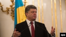 Ukraine President Petro Poroshenko speaks during a visit to Bratislava, Slovakia, on November 16.