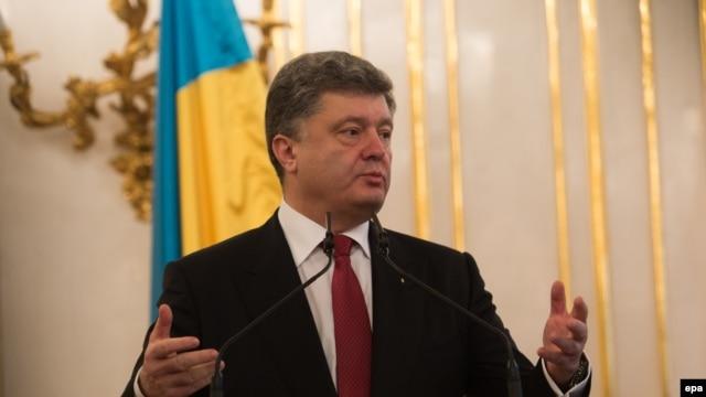 Ukraine President Petro Poroshenko speaks during a visit to Bratislava, Slovakia, on November 16.