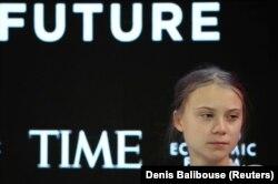 Грета Тунберг на заседании Международного экономического форума в Давосе